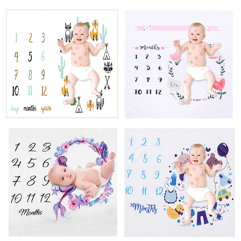 Newborn Baby Milestone Blanket Number Print Infant Photography Background Calendar Blanket Stroller Cover Bedding Swaddling Warp
