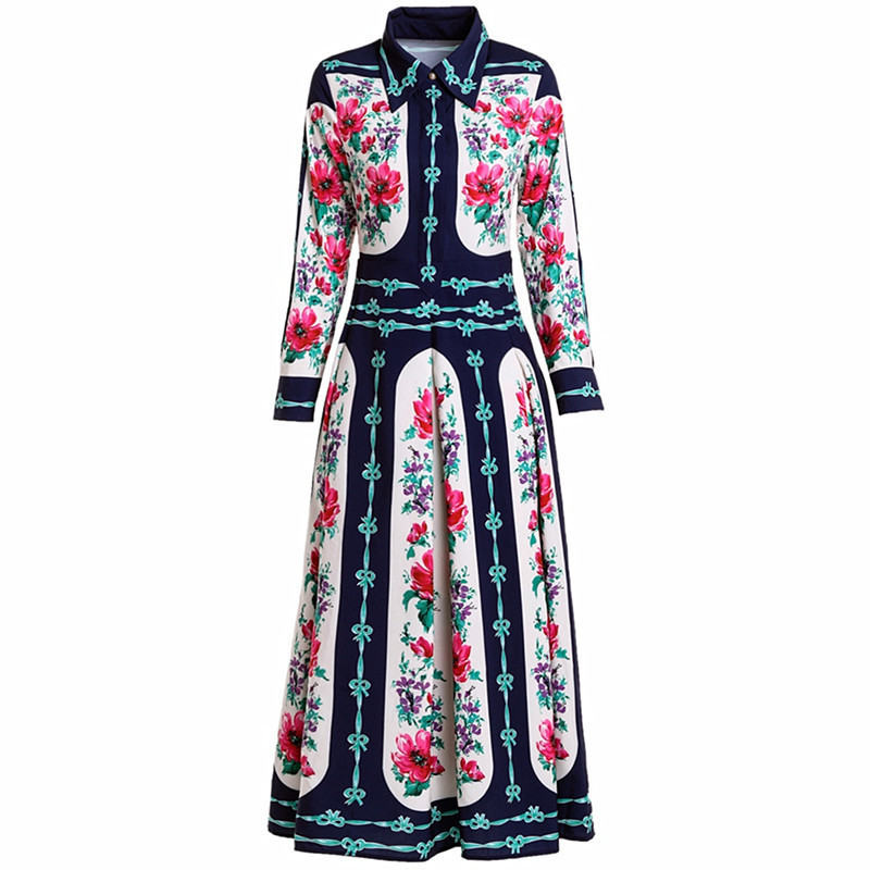Longues Haute Impression Robes Qualité Designer Blue Hide L'automne Piste Auto Femme culture À 2018 Début Manches De Longue Robe fzHvRwq5