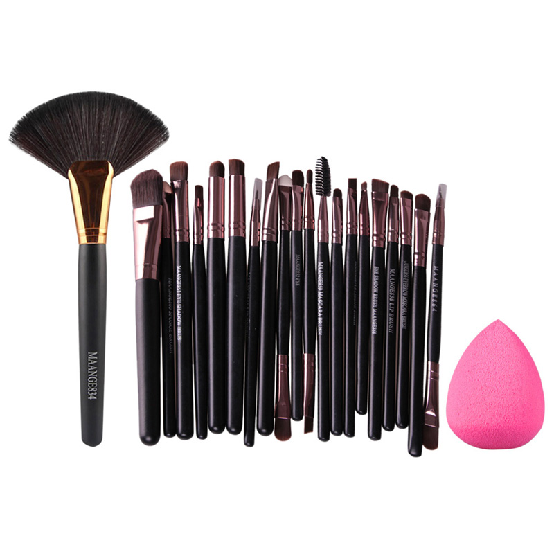22PCS Makeup Brushes Set Eyeshdow Eyeliner Powder Cosmetic Brush + Cosmetic Sponge Puff Make Up Brushes Beauty Pincel Maquiagem bob cosmetic makeup powder w puff mirror ivory white 02
