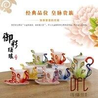 Новое поступление 7 шт. творческого павлин чашки Европейский Кофе Чай набор костяного фарфора Трехмерная живопись Керамика Чай чашки