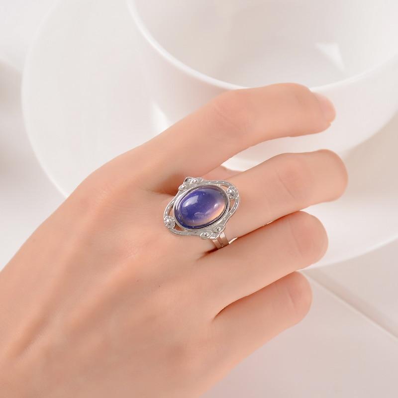 Женское Винтажное кольцо в стиле ретро, меняющее цвет, меняющее настроение, овальные чувства, изменяемое кольцо, контроль температуры, цвет...