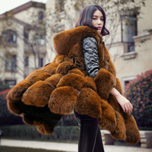 Big brand design women's real fox fur coat 2017 new genuine sheep leather sleeve fur body x-long outerwear for winter