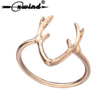 Cxwind New Deer Antler Ring Jewelry Fashion Animal Deer Horn Antler Rings For Women Lovely Finger Wrap Jewelry(China)