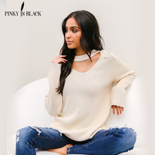 PinkyIsBlack Pearl Beaded Rib Knit Jumper Autumn Winter Womens Pullover Sweaters Grey hollow Collar Long Sleeve Tight Sweater недорого