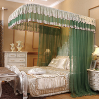 Light green luxury U type Palace style Guide rail mosquito net three open door telescopic electric mosquito net 1.8m 1.5m 2m bed