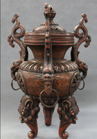 wholesale factory 12 Marked Chinese Bronze 3 Dragon Lion Head Statue Tibet Incense Burner Censer