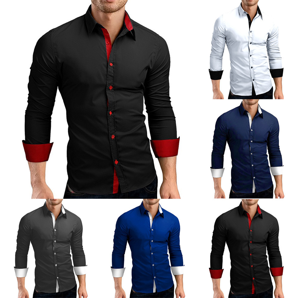 HTB1wk4oXynrK1Rjy1Xcq6yeDVXa3 - #4 DROPSHIP 2018 NEW HOT Fashion Men's Autumn Casual Formal Solid Slim Fit Long Sleeve Dress Shirt Top Blouse Freeship