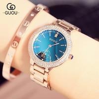 Luxury GUOU Women Watch Rhinestone Crystal Blue Hardlex Dial Lady Dress Wristwatch Clock Bracelet Gift to Girlfriend Wife