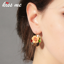 Ms Fashion Major Suit Joker Enamel Flowers Color Focus Piercing Earrings Factory Wholesale