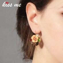 Ms Fashion Major Suit Joker Enamel Flowers Color Focus Piercing Earrings Factory Wholesale Drop Earrings for Women