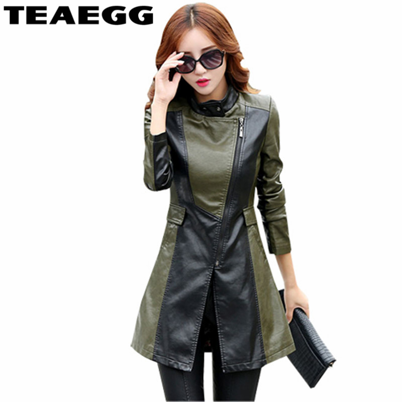 TEAEGG Womens   Leather   Jackets Chaqueta Cuero Mujer 2019 Autumn Black Faux   Leather   Jacket Women Clothing Plus size 4XL 5XL AL30