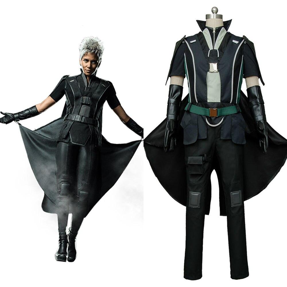 X-Men: Days of Future Past Storm Battle Suit Cosplay Costume Outfit Belt Cloak Coat Gloves leglet Pants Shirt Halloween Party