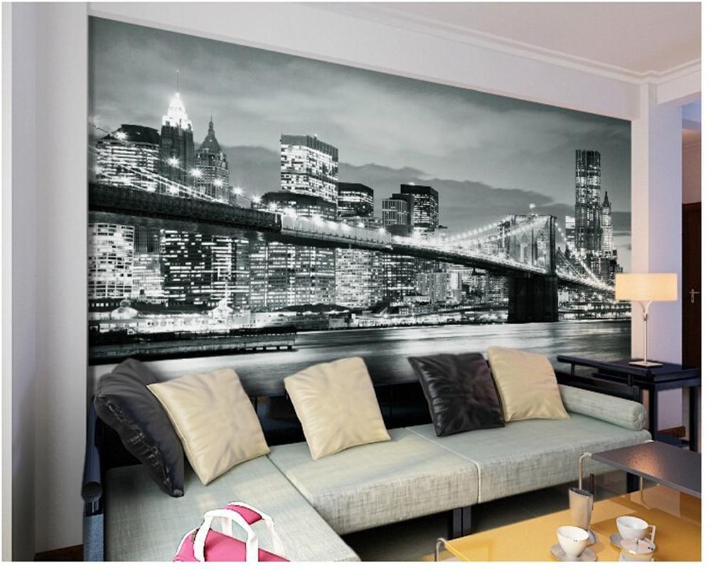 buy custom photo wallpaper photo wallpaper brooklyn bridge new york designer. Black Bedroom Furniture Sets. Home Design Ideas