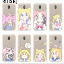 RUIXKJ สำหรับ Coque Samsung Galaxy J3 J5 J7 2016 2017 J4 J6 Plus 2018 A30 A40 A50 โทรศัพท์ Kawaii sailor Moon Soft Cover Fundas(China)