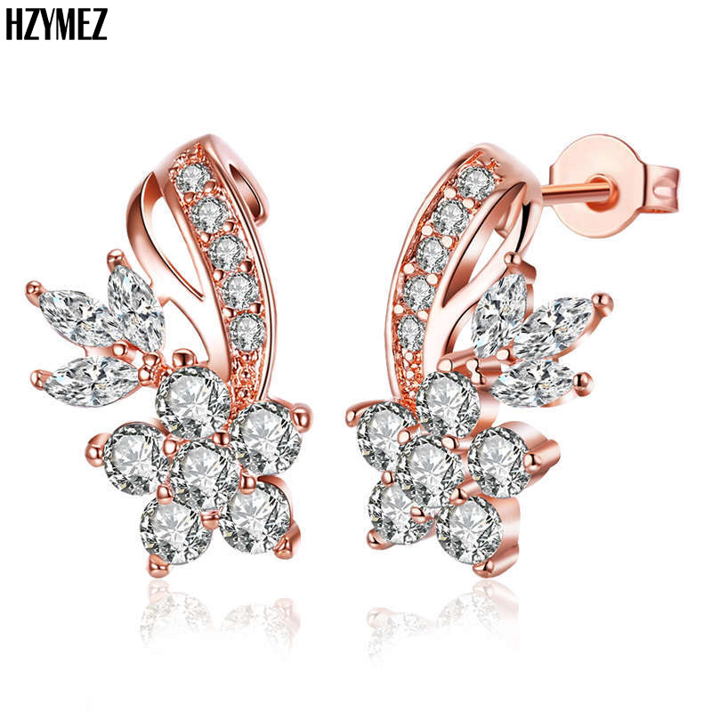 HZYMEZ Fashion Crystal Flowers Stud Earrings Inlay CZ Zircon Jewelry For Women Rose Gold Color Earrings Jewelery Accessories