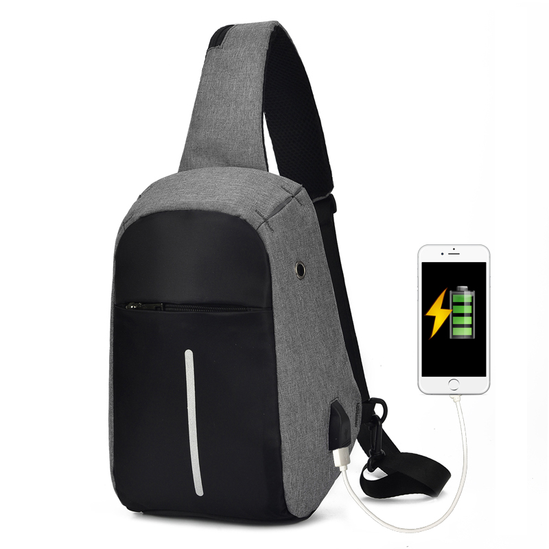 Casual Anti Theft Travel Chest Bag Men Single Shoulder Strap Cross Body Bags USB Charging Headphone Plug Pack Rucksack Male 2018