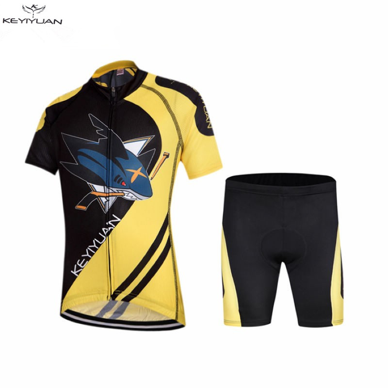 Prix pour Chaude Enfants Vélo Jersey Shorts définit Jaune pro Enfants Vélo Vêtements D'équitation Vélo Jersey Shark Ciclismo Garçon vtt Chemises Costumes