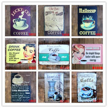 DRINK COFFEE Vintage Decorative Plates Retro Plaque 12 Styles Metal Tin Signs for Bar Pub Cafe COFFEE SHOP Wall Decor N048(China)