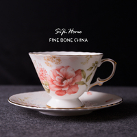 240ml Fashion Bone China Coffee Cup And Saucer Ceranic Flower Tea Cup Plate Quality Bone China