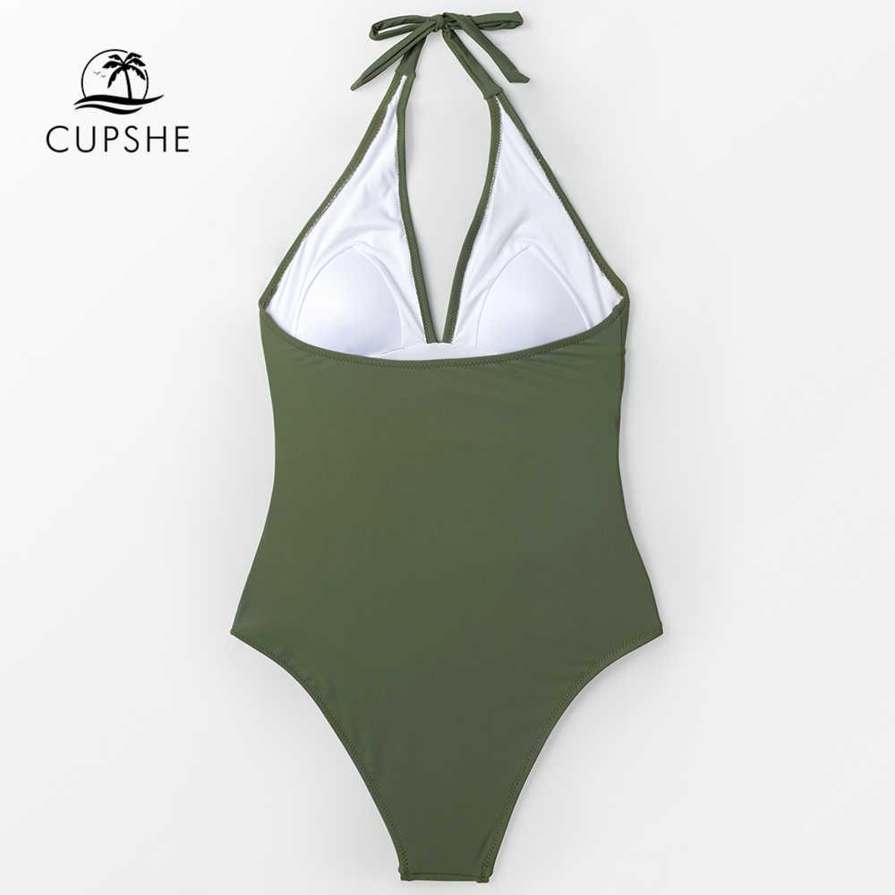 CUPSHE, сексуальный армейский зеленый Цельный купальник с рюшами, Женский Одноцветный Монокини, купальные костюмы, монокини, 2019, женский пляжный купальник