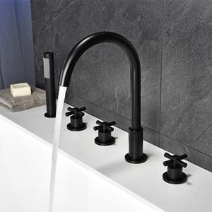 Image 3 - أسود شلال خلاط حوض الاستحمام مع النحاس دش يدوي وظيفة مزدوجة الأسود حنفية الحمام سطح الخيالة حمام دش صنبور MJ04118H