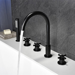 Image 3 - Black Waterfall Bathtub mixer with brass hand shower double function black bath faucet deck mounted bath shower faucet MJ04118H