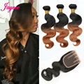 8A GradeOmbre Brazilian Virgin Hair Body Wave Bundles With lace Closure Brazilian human hair weave with closure body wave #1B 30