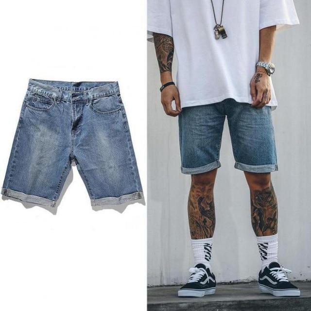 2018 Summer Folded Hem Mens Denim Shorts Hip Hop Fashion Casual