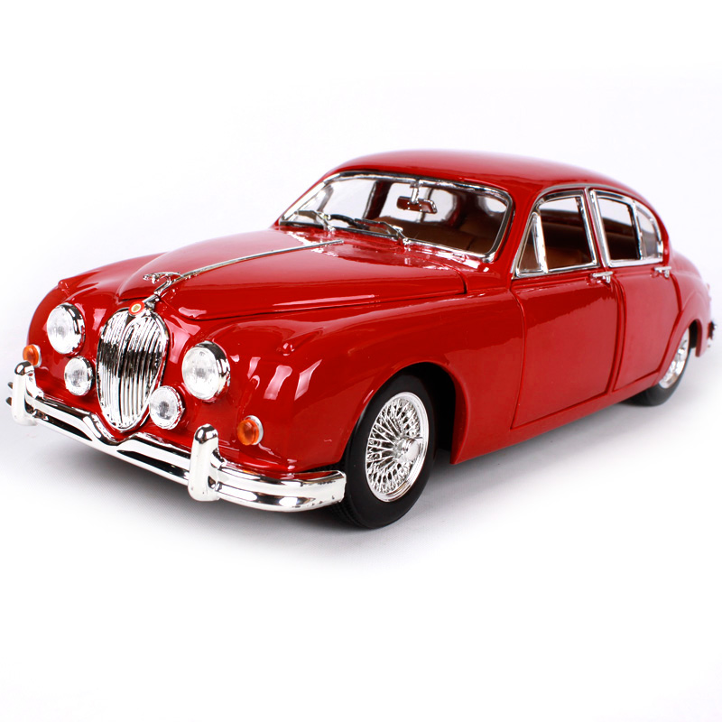Bburago 1:18 1959 jaguar mark 2 red car diecast open doors classic car model motorcar old version for collecting 12009