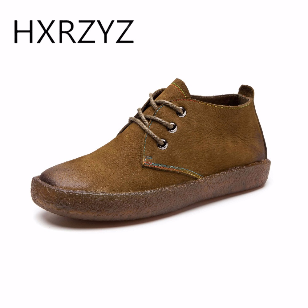 HXRZYZ Spring and autumn new fashion womens flat shoes lace-up casual shoes handmade genuine leather flats oxford shoes women genuine leather handmade women shoes vintage spring and autumn women shoes flat shoes low top casual shoes free shipping