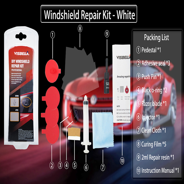Visbella windshield repair kit Car window repair polishing Windscreen Glass renewal Tool Auto Scratch Chip Crack Restore fix DIY