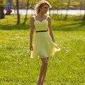 Barato cinto Preto Curto A-linha amarela Plissado Curto Da Dama de Honra Vestidos de Chiffon Querido Vestido de Festa de Casamento Custom Made