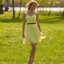 Cheap Black belt Short A-Line yellow Pleated Short Bridesmaid Dresses Chiffon Sweetheart Wedding Party Dress Custom Made