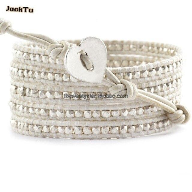 2016 ladygaga same type silver nuggets leather bracelet