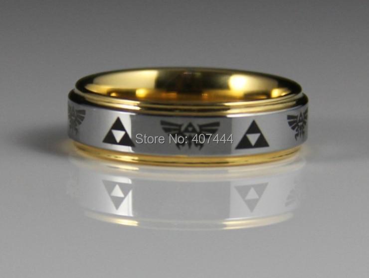 ygk jewelry 6mm gold color steps silver top legend of zelda mens tungsten wedding rings - Zelda Wedding Ring