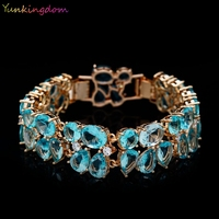 Beautiful Attractive Jewelry 24K Gold Plated Blue Oval Cubic Zircon Delightful Bracelets Bangles For OL