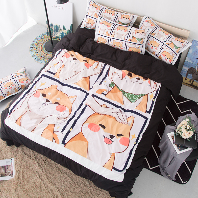 Cute Shiba Inu Soft Bedding Set Pets Dog Queen Duvet Cover Sets Adults/Kids Twin  King cartoon new Luxury fashion 3D BedclothesCute Shiba Inu Soft Bedding Set Pets Dog Queen Duvet Cover Sets Adults/Kids Twin  King cartoon new Luxury fashion 3D Bedclothes