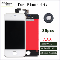 Mobymax 30pcs LCD Screen Display For IPhone 4 4s Touch Glass Digitizer Replacement Complete Black White