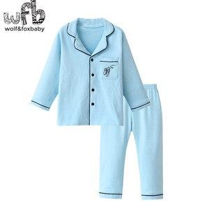 Image 5 - Lẻ 4 14 năm dài tay áo bông trẻ em của home mang nightdress chàng trai cô gái pajama lập mùa thu mùa thu phong cách cổ điển