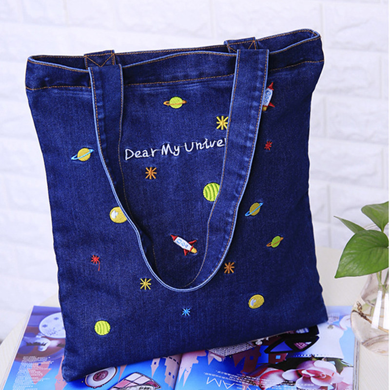 HLDAFA 2018 Casual Top-Handle Bags New Embroidery Cowboy Canvas Women Shoulder Bag Handbags Denim Fashion Handbag Shopping Bags free shipping casual canvas shopping bags black color with fish pattern shoulder bags shopping bag handbags e08