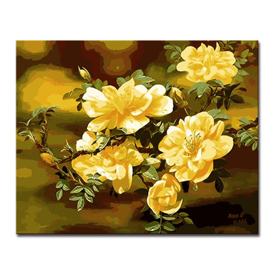 Bright Yellow Flowers Picture By Numbers Kits Hand painted Style On Linen Canvas Modern Home Decorative Unique Gift DIY Painting