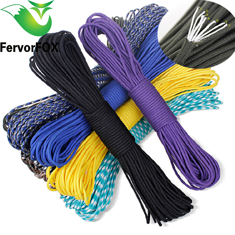 50 farver Paracord 550 Parachute Cord Nøgle Rulle Mil Spec Type III 7 Strand 100FT Klatring Camping overlevelsesudstyr