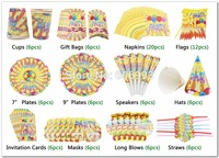92 Pcs Set Kids Birthday Party Set Decoration With Napkin Cup Plate Speaker Festive Event Party
