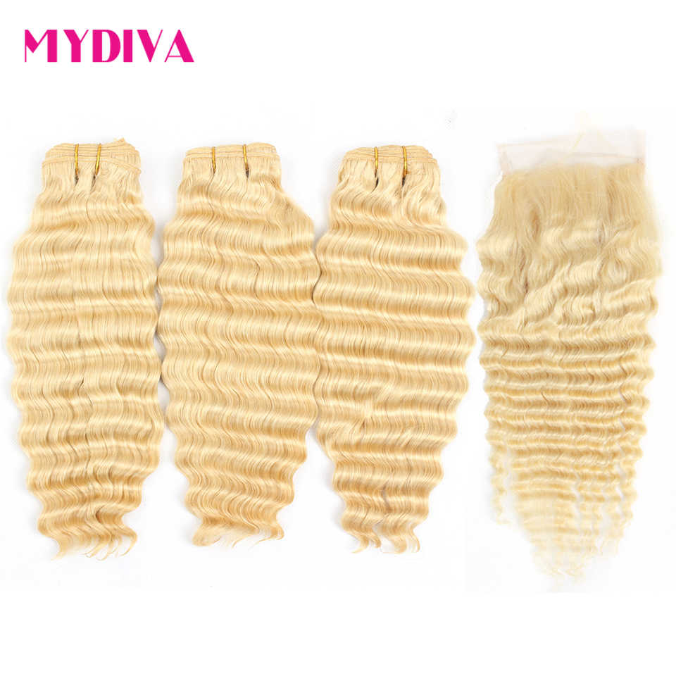 613 Brazilian Deep Wave Bundles With Closure Remy Human Hair Weave Extensions Blonde Bundles With Closure 8-28inch Mydiva