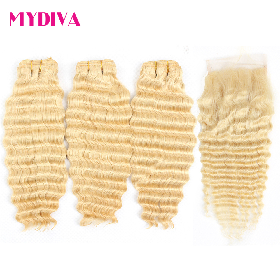 613 Brazilian Deep Wave Bundles With Closure Remy Human Hair Weave Extensions Blonde Bundles With Closure 8-28inch Mydiva image