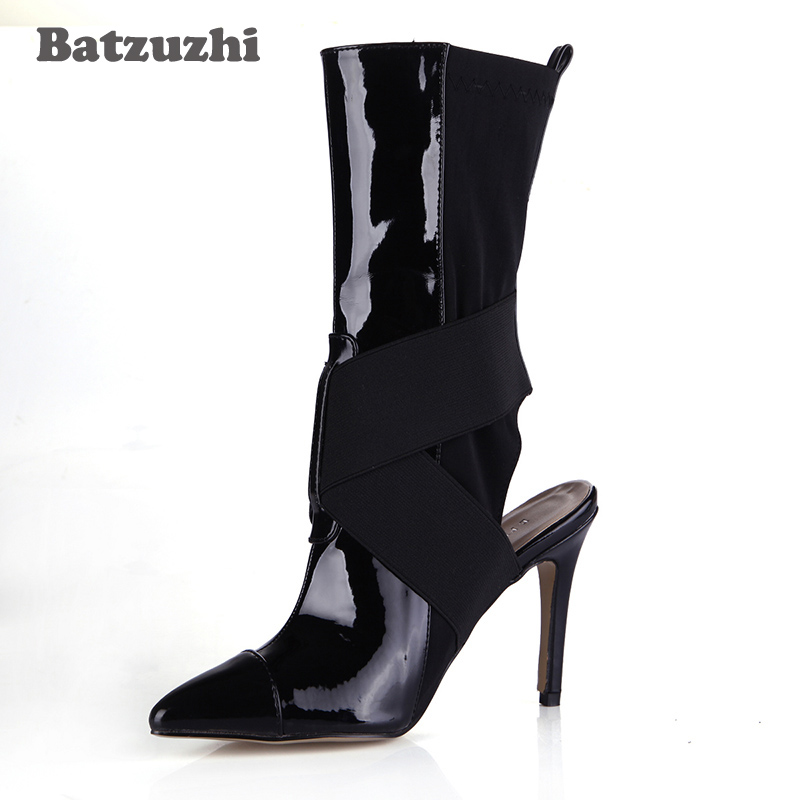 Batzuzhi-2018 New Luxury Women Boots Pointed Toe Slingback Black Leather and Elastic Fabric Mid-calf Women Boots Party new arrival superstar genuine leather chelsea boots women round toe solid thick heel runway model nude zipper mid calf boots l63