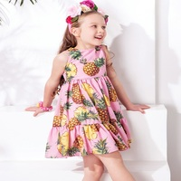 W L MONSOON Princess Girls Pink Cotton Dress With Pineapple Printed Girls Clothes Costume For Kids
