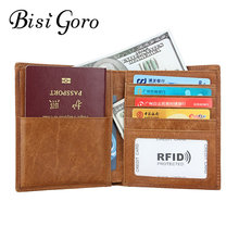 Bisi Goro 2019 RFID Men's and Women's Cow Leather Retro Passport Folder Multi-functional Passport Package Card Holder Wholesale(China)