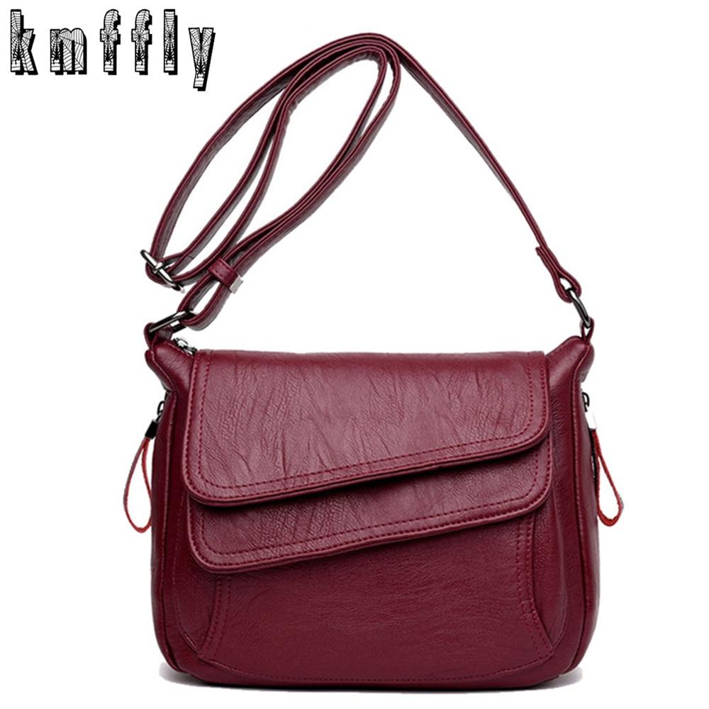 b28dbfbb9335 KMFFLY 2018 Women Bag Fashion Sheepskin Leather Designer Handbags High  Quality Ladies Bags Famous Shoulder Bag Double zipper Sac