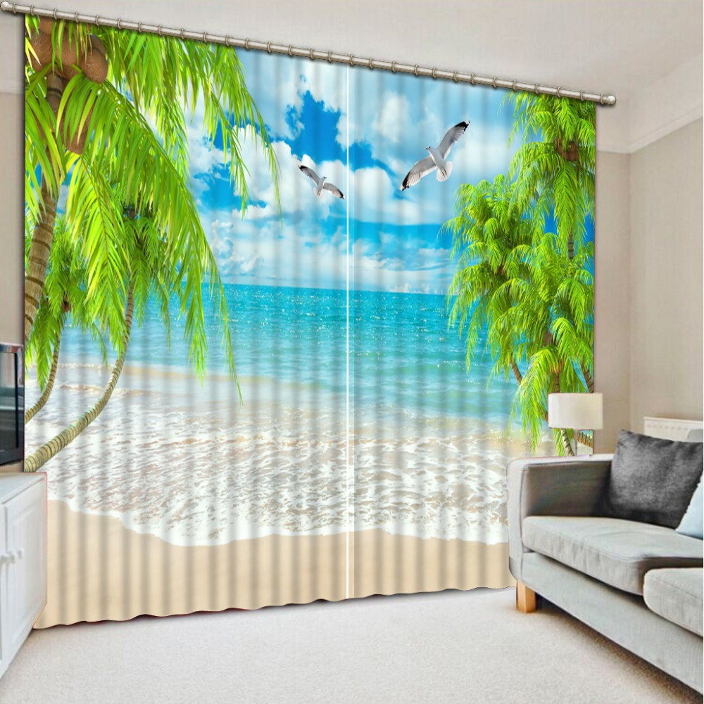Nice 2016 Blackout Curtains For Living Room Custom Beach Scenery Curtains Living  Room Modern For Window Curtain